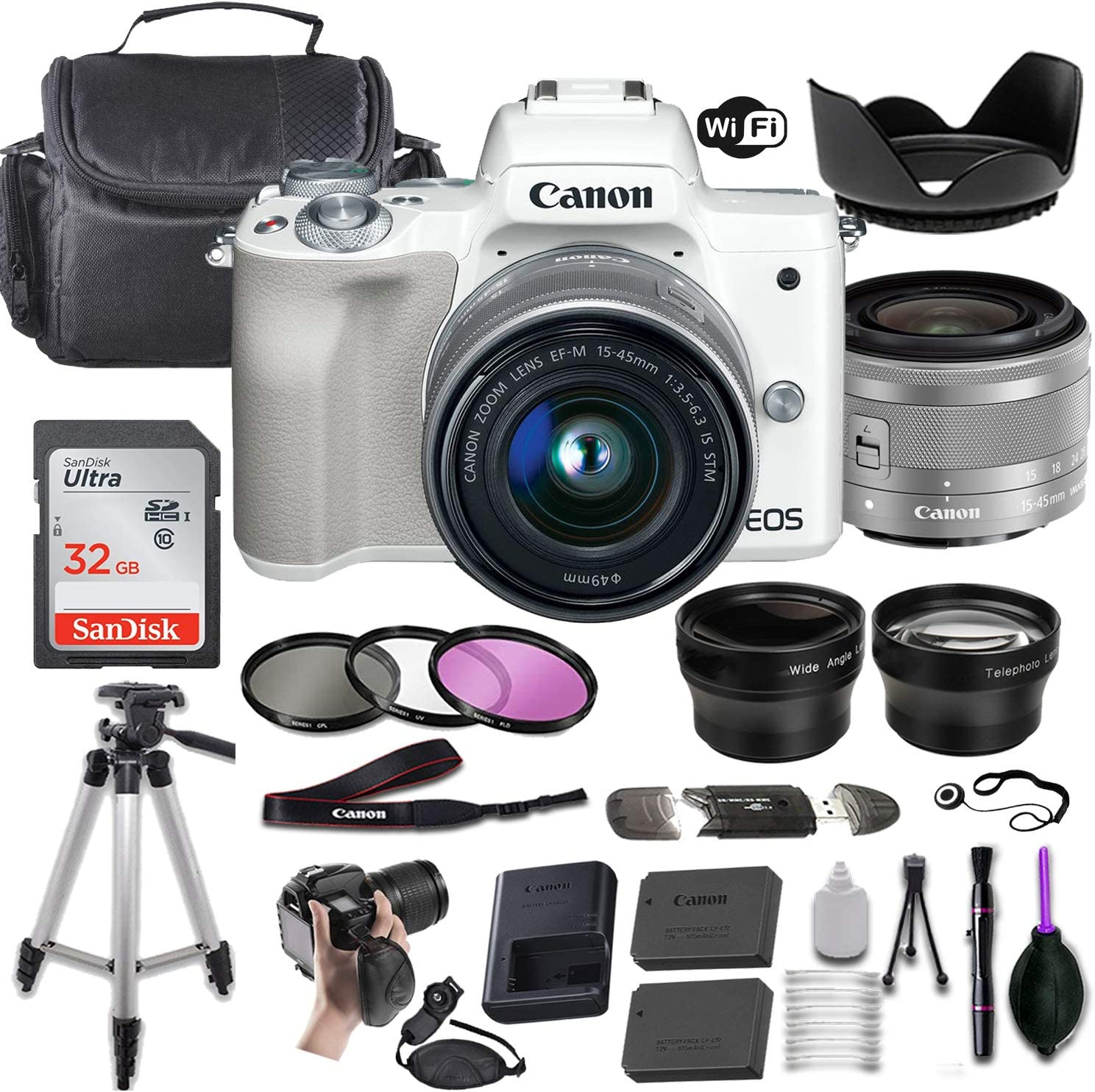 Canon EOS M50 Mirrorless Digital Gifts Popular brand in the world Camera f 15-45mm EF-M White w