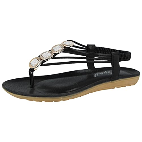 af463bca8fe3 Shoes By Emma Ladies Emma Faux Leather Metallic Toe Post Sling Back Low  Wedge Flat Summer