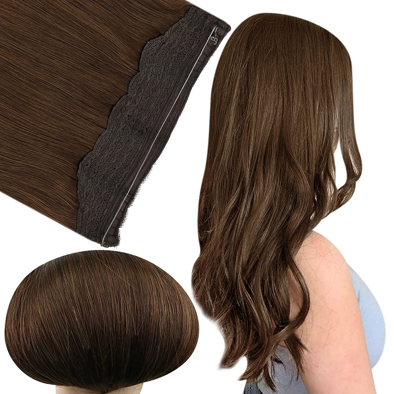 Fshine Long-awaited Hair Extensions Limited price Wire Layered Dark Headband Ha Brown Human