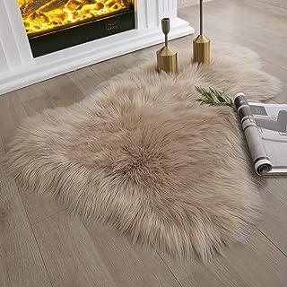 Ashler Soft Faux Sheepskin Fur Chair Couch Cover Beige Area Rug Bedroom Floor Sofa Living Room 2...