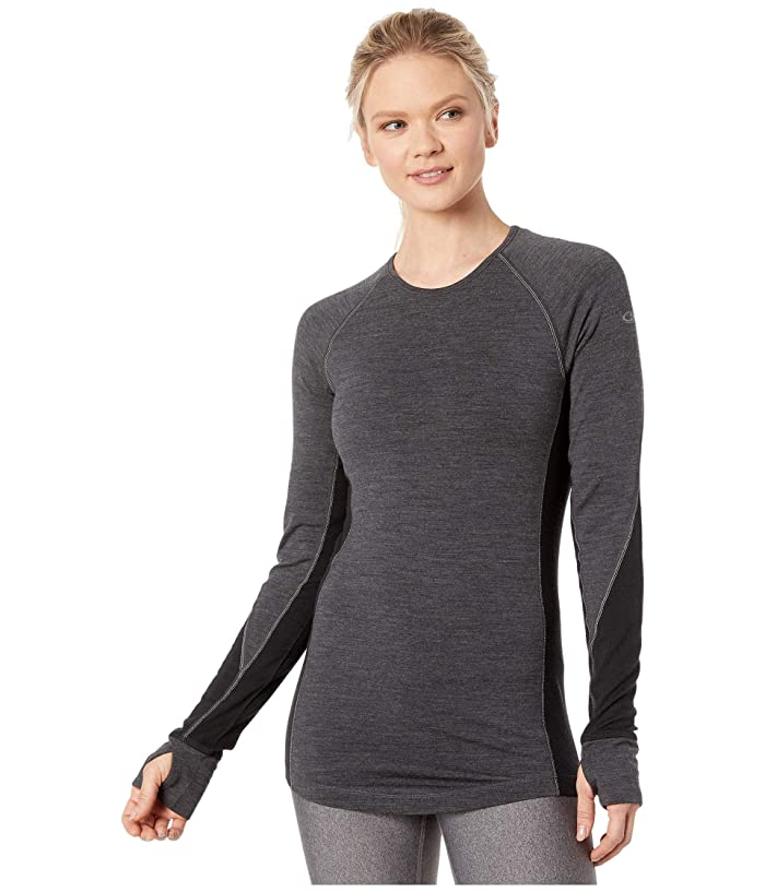 Icebreaker  260 Zone Merino Long Sleeve Crewe (Jet Heather/Black) Womens Clothing