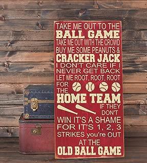 Ruskin352 Take Me Out to The Ballgame Baseball Nursery Decor Subway Art Plaque Wooden Sign 10x18 Playroom Decor Baseball Sign Nursery Wall Decor