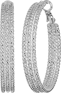 Medium Triple Textured Wire Hoop Earrings