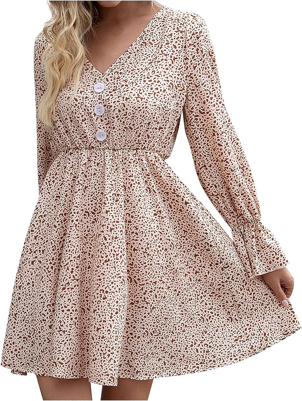 BIrty Women's Fashion Autumn Long Sleeve Shirt Dress Solid Color V-Neck Mini A-line Dress