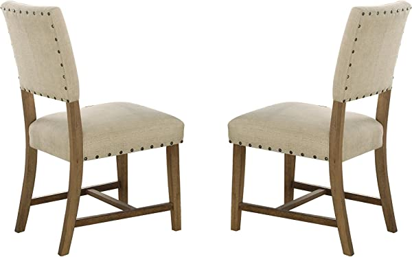 Homelegance Veltry Dining Chairs With Nail Head Accent Set Of 2 Beige