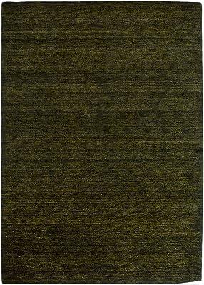 Morgenland Gabbeh Teppich Schwarzgrün UNI Einfarbig Handgewebt Schurwolle 140 x 70 cm