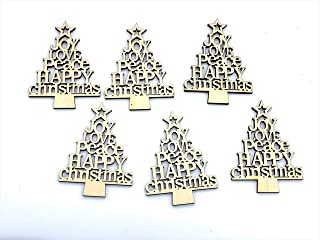 Elegant Blooms & Things Wooden Words Christmas Tree Shape Ornaments, 6 ct.