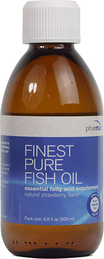 Pharmax - Finest Pure Fish Oil - Essential Fatty Acids to Support Cardiovascular Health* - Natural Strawberry Flavor - 6.8 fl oz (200 ml)