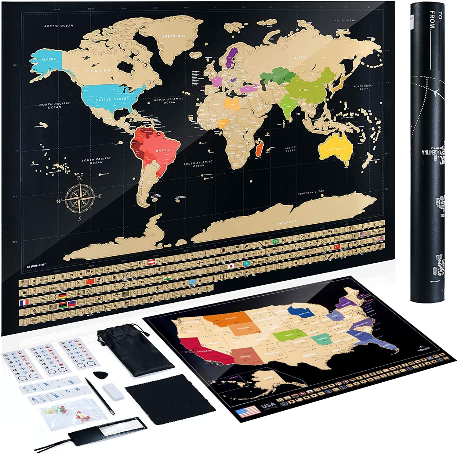 TOBEHIGHER Premium Extra Large 36  X 22.5  Scratch Off Map of The World - Bonus Scratch Off USA Map, Tracks Your Adventures. Includes Precision Scratch Tool, Perfect for Travelers