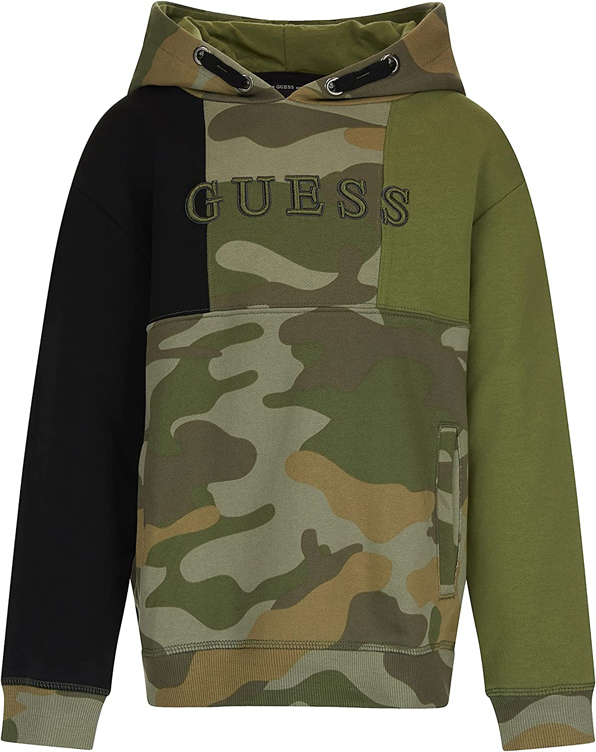 GUESS Boys' Eco French Terry Color Block Logo Popover Hoodie