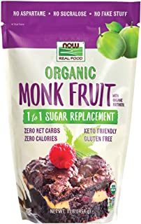NOW Foods, Organic Monk Fruit With Erythritol Powder, 1 to 1 Sugar Replacement, 1-Pound