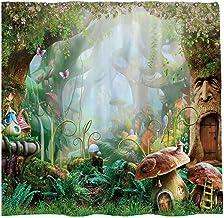 Allenjoy 72x72 inch Spring Enchanted Forest Shower Curtain Set Cartoon Fairy Tale Mushroom Wonderland Decor Home Bathroom ...