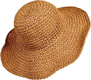 MXKJ-STORE Women Straw Hat Wide Brim Beach Sun Cap Foldable Large Lady Floppy 100% Natural Paper Braided for Travel Decoration Summer Vacation Soft Lightweight and Breathable (Brown)
