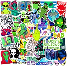 Alien Stickers for Laptop 50PCS,Cool Graffiti UFO Human Sticker Decals for Car,Water Bottle,Skateboard,Motorcycle,Phone,Bicycle,Luggage,Guitar,Bike