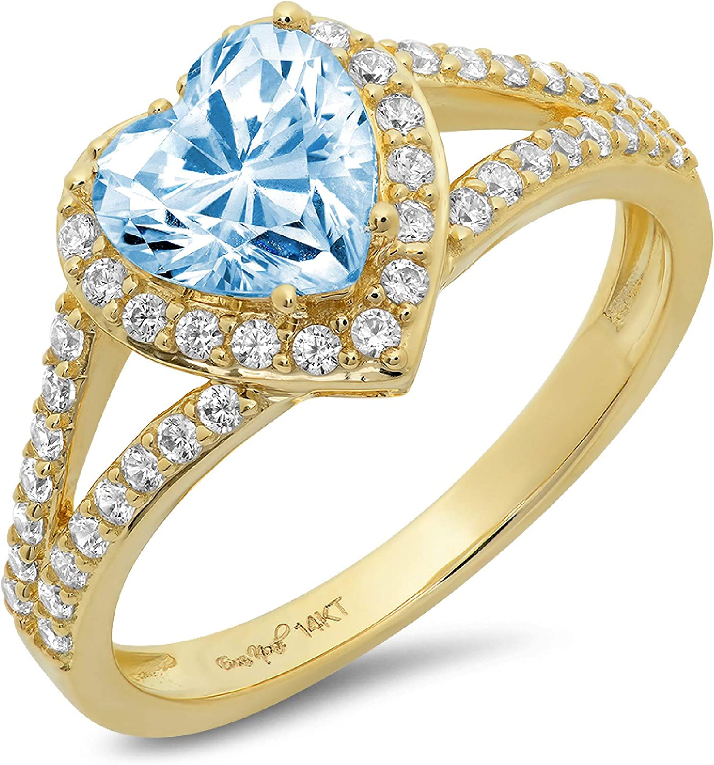 1.69ct Heart Cut Solitaire with Accent Halo split shank Natural Sky Blue Topaz Gem Stone Ideal VVS1 Engagement Promise Statement Anniversary Bridal Wedding ring 14k Yellow Gold