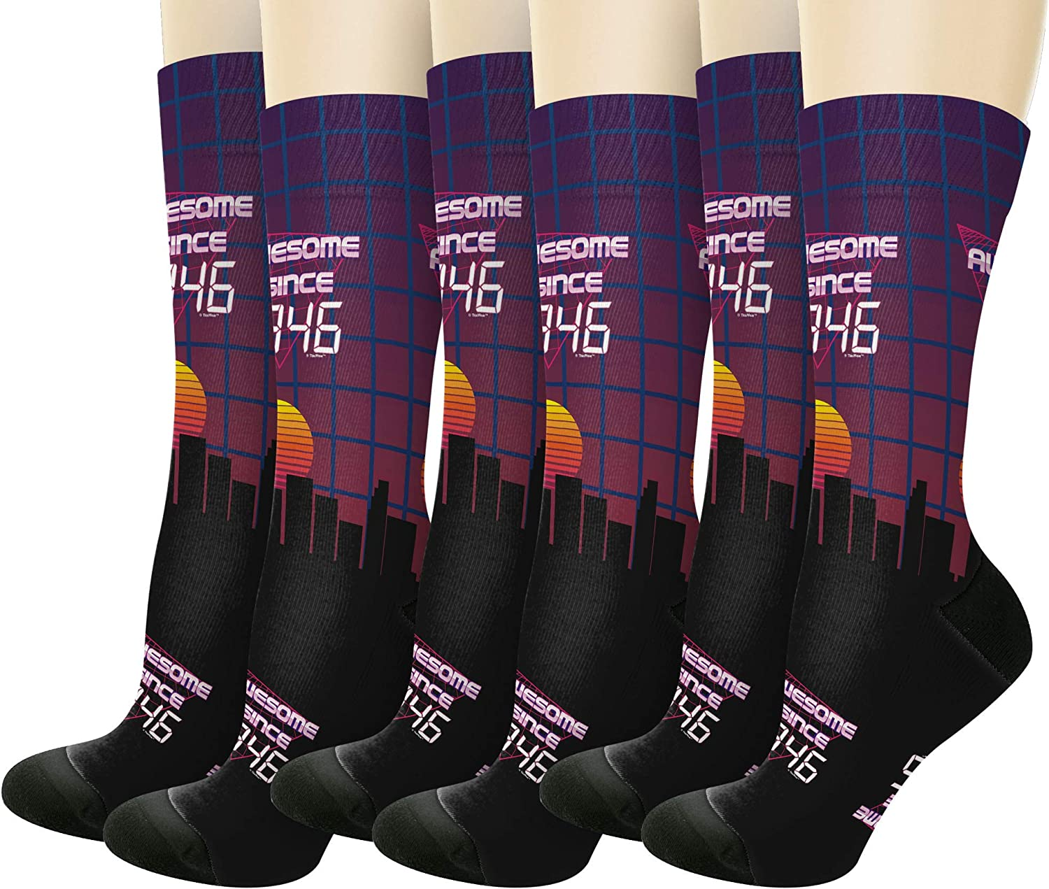 75th Birthday Awesome Since 1946 Novelty Crew Socks