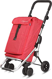 PlayMarket GO UP Folding Shopping Cart with Swivel Wheels, Red