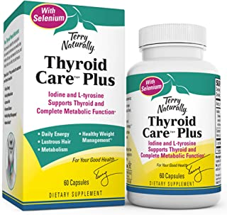 Terry Naturally Thyroid Care Plus - Iodine + L-Tyrosine, 60 Capsules - Thyroid Support Supplement with Selenium, Promotes ...