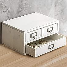 MyGift Vintage White Wood 3-Drawer Storage Cabinet