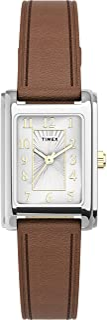 Timex Women's TW2U06100 Meriden 21mm Dark Brown/Silver-Tone Leather Strap Watch