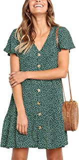 Women's Dresses-Short Sleeve V Neck Button T Shirt Mini Skater Dress