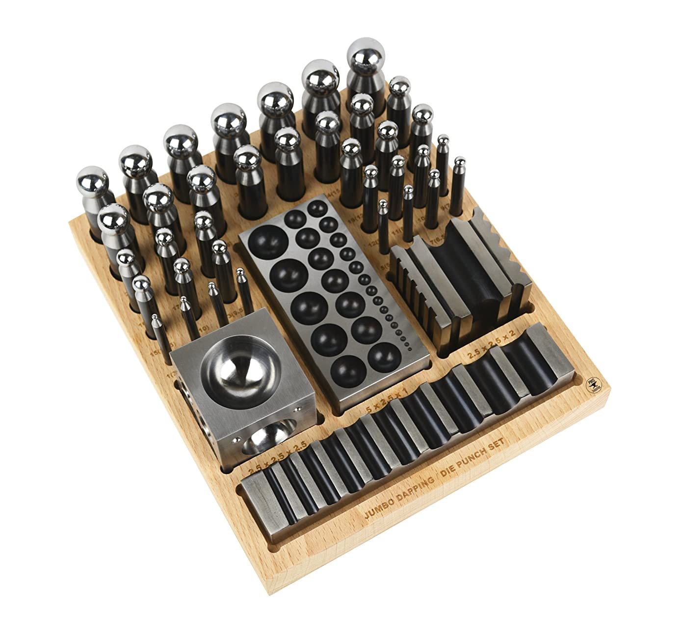 Complete Steel Dapping Doming Punch Set with Wooden Block Base Tool for Jewelry Making Metal Forming