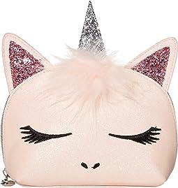 Glitter Face Unicorn Critter Cosmetic Bag