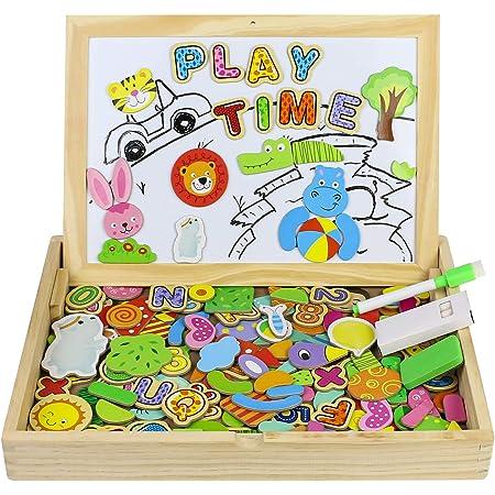TONZE Puzzle Magnetico Legno Giocattolo di Legno Bambini con Lavagna a Double Face, Puzzle di Legno Giochi Educativo Bambini 3 Anni 4 Anni 5 Anni - Quasi 160 Pezzi - può Attaccare sul Frigorifero