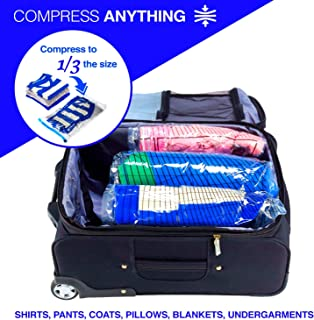 Reusable Space Saver Compression Bags for Storage, Travel, Camping, Laundry, Pillows, Blankets + More, 3 pack (1 Med, 1 Lrg, 1 XL), Clear