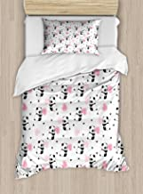 Lunarable Panda Duvet Cover Set, Childrens Cartoon Style Bear Drawings with Pink Foliage Leaves Chinese, Decorative 2 Piece Bedding Set with 1 Pillow Sham, Twin Size, Pink Black