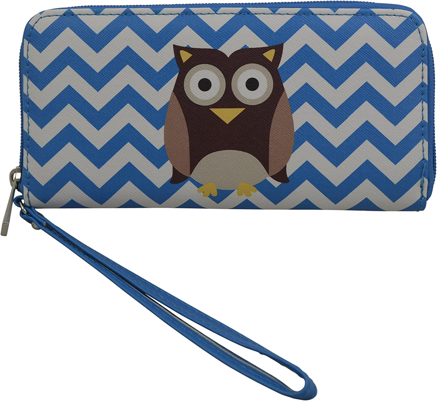 Women's girls Mini Clutch w Writlet  Wallet with Fox and Owl Elephant Print on Canvas Faux Leather