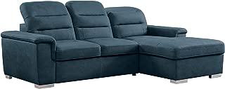 Homelegance Sleeper Sectional Sofa with Storage, Blue