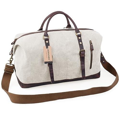 Jack Chris Oversized Canvas Leather Trim Travel Tote Duffel shoulder  handbag Weekend Bag CB1004 ac591f1395