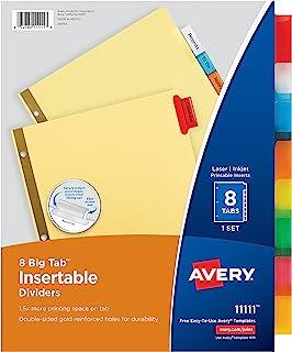 Avery 8-Tab Binder Dividers, Insertable Multicolor Big Tabs, 1 Set (11111)