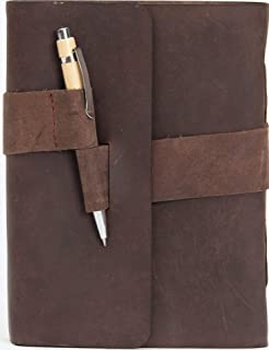 Genuine Leather Journal Writing Notebook with Pen Hand Made in India for Men and Women - Unlined Hand Crafted Recycled Sheets - 8x6 Inches - Perfect Gift Travel Diary, Sketchbook with Gift Box