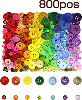 800 Pcs Assorted Sizes Resin Buttons ,Round Craft Buttons for Sewing DIY Crafts,Children's Manual Button Painting