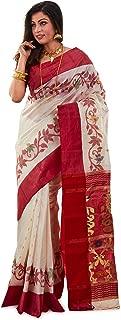 SareesofBengal Women's Tussar/Kosa Silk Handloom Jamdani Dhakai Saree Red And White