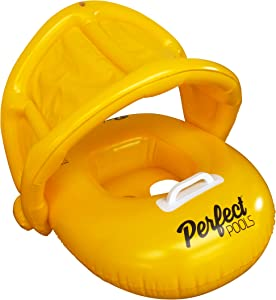 Perfect Pools Inflatable Baby Pool Float - Swimming Ring Baby Orange Toddler Seat with Sunshade for Age 6-36 months Toddler Children (With Repair Patch)