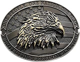 YOQUCOL Bronze American Flag Bald Eagle Belt Buckle For Men,Protecting Freedom