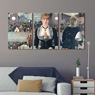 wall26 3 Panel World Famous Painting Reproduction on Canvas Wall Art - A Bar at The Folies-Bergère by Edouard Manet - Modern Home Decor Ready to Hang - 24
