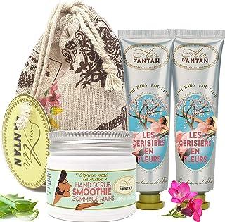 Caja Regalo Mujer/Un Air D'Antan®/ FLORO DE CEREZO - 1 Exfoliante Manos 50ml, 2 Cremas Manos Francesas/Preciosa Bolsa De Y...