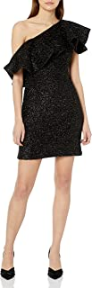 Halston Heritage womens One Shoulder Metallic Knit Dress with Flounce Cocktail Dress