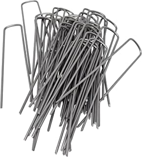 Nickanny's 6 Inch 11 Gauge Heavy Duty U Shaped Garden Securing Pegs - Sod Staples for Securing Weed Fabric, Landscape Fabric, Netting, Ground Sheets and Fleece - Garden Spikes (50 Pack 6 Heavy Duty)