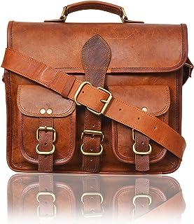 AryanExports 13 Inch Vintage Craft Handmade Leather Messenger Bag Satchel for Men Vintage Mens Geek Briefcases Saddle Brie...