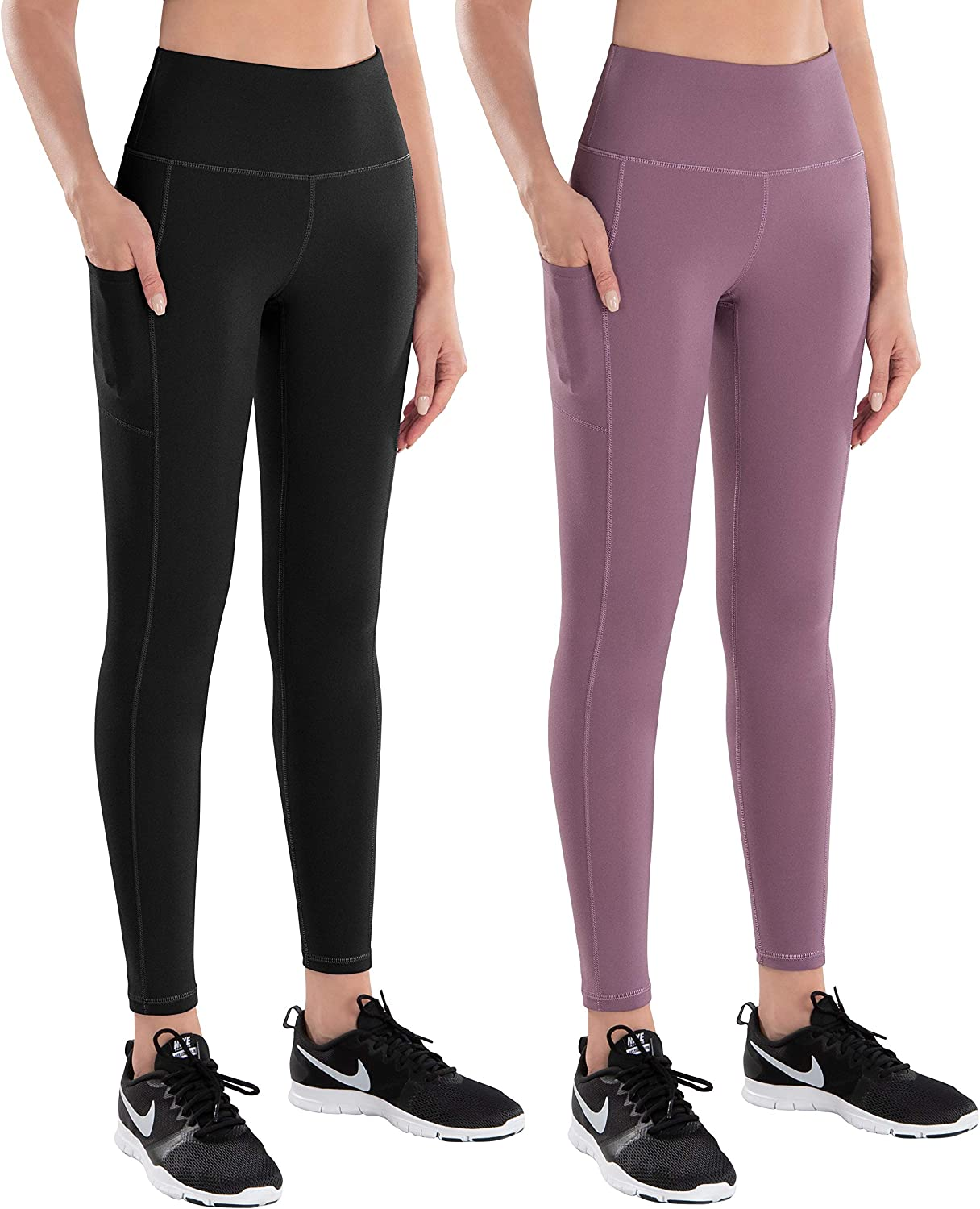 LifeSky Yoga Pants for Women with Pockets High Waist Tummy Control Leggings 4 Way Stretch Soft Athletic Pants