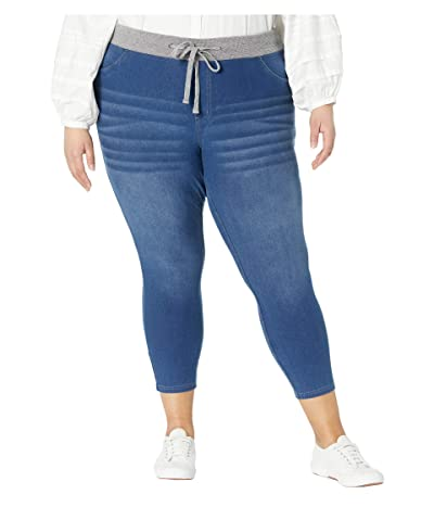 HUE Plus Size Wearever U R Feel Good Sweatshirt Denim Capris (Medium Wash) Women