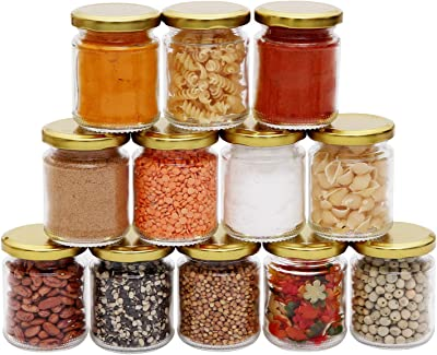 Ash & Roh Glass Mason Jars 200 ml Food Storage Jar,Material Jar,Kitchen Container jar,Cookie Jar,Tea Sugar Glass Jar Set of - [ Golden lid ] (4)