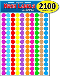 BronaGrand 16 Sheets Dia Approx 16mm//0.63inch Color Coding Labels Dot Stickers Round Circle Stickers 1536 Pieces Dots in Total