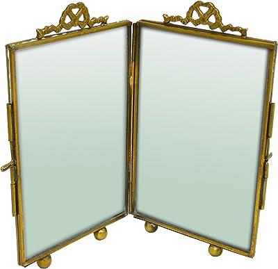 Better & Best Folding Photo Frame, Glass, Metal, Gold, 10 x 5