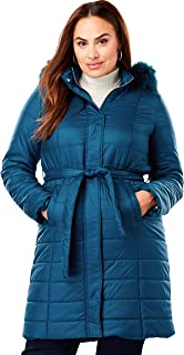 Women's Plus Size Belted Puffer Coat